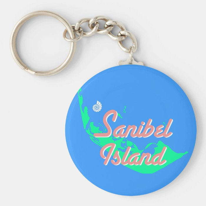 Sanibel Island map outline design Keychain