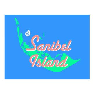 Sanibel Island map outline design Postcard