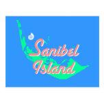 Sanibel Island map outline design Postcards