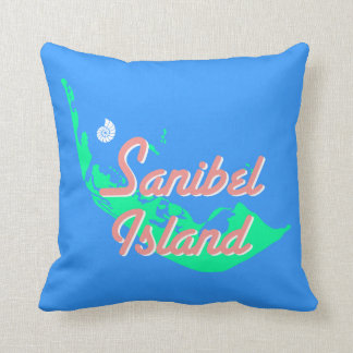 Sanibel Island map outline design Throw Pillow