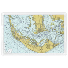 Sanibel Island vintage map Acrylic Tray