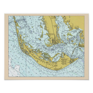 Sanibel Island vintage map Poster