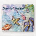 Sanibel Island Watercolor Florida Art Mouse Pad