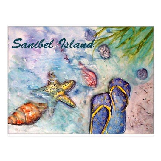 Sanibel Island Watercolor Florida Art Postcard