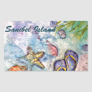 Sanibel Island Watercolor Florida Art Rectangular Sticker