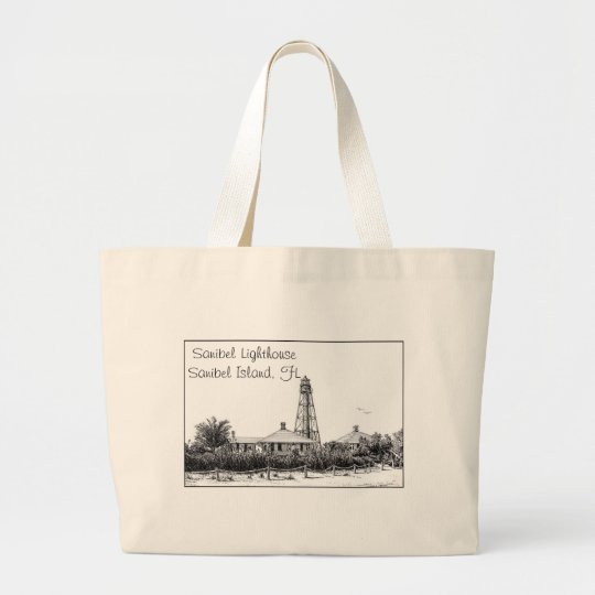 Sanibel Lighthouse items Large Tote Bag