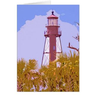 """Sanibel Lighthouse woodcut"" collection Card"