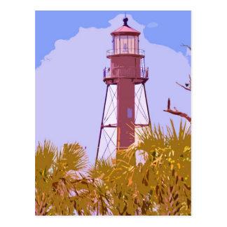 """Sanibel Lighthouse woodcut"" collection Postcard"
