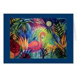 Sanibel Midnight Flamingo Moon Card