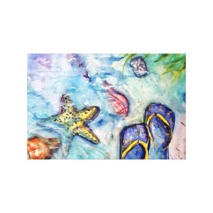 Sanibel Sandals Florida Watercolor art wrappedcanvas