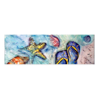 Sanibel Sandals - watercolor Double-Sided Mini Business Cards (Pack Of 20)