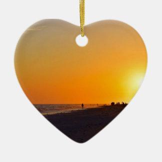 Sanibel Sunset Heart Ornament