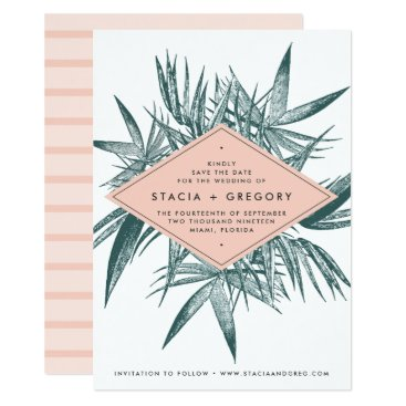 Beach Themed Sanibel | Tropical Botanical Save the Date Card