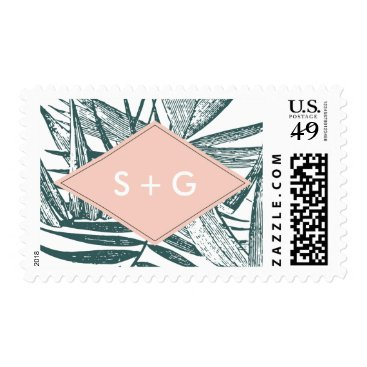 Beach Themed Sanibel | Tropical Botanical Wedding Monogram Postage