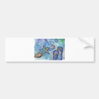 Sanidbel Sandals Watercolor Flip Flops Beach Theme Bumper Sticker