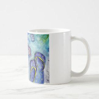 Sanidbel Sandals Watercolor Flip Flops Beach Theme Coffee Mug