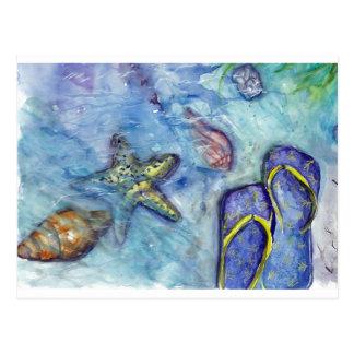 Sanidbel Sandals Watercolor Flip Flops Beach Theme Post Card