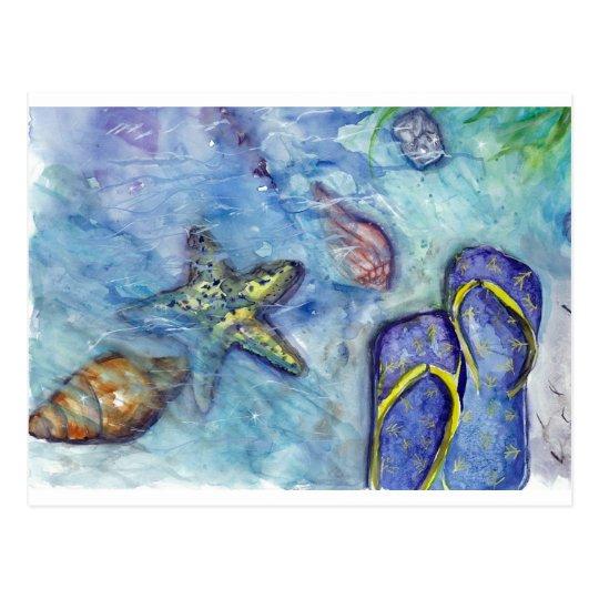 Sanidbel Sandals Watercolor Flip Flops Beach Theme Postcard