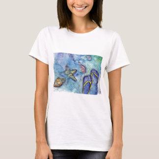 Sanidbel Sandals Watercolor Flip Flops Beach Theme T-Shirt