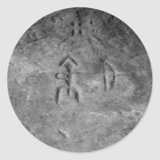 Sanilac Petroglyphs Michigan The Hunter Classic Round Sticker