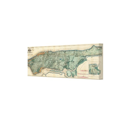 Sanitary and Topographical Map of New York City Canvas Print