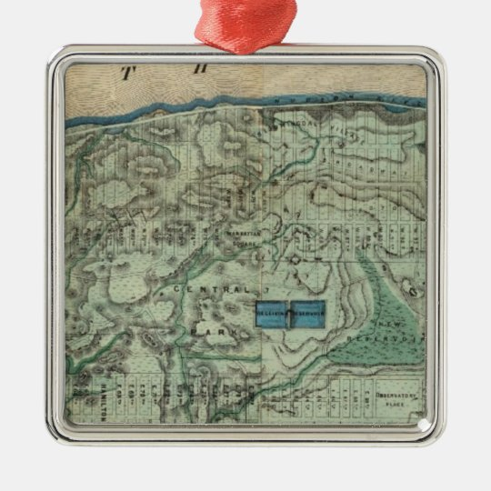 Sanitary and Topographical Map of New York City Metal Ornament