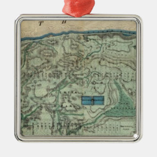Sanitary and Topographical Map of New York City Square Metal Christmas Ornament