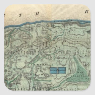 Sanitary and Topographical Map of New York City Square Sticker