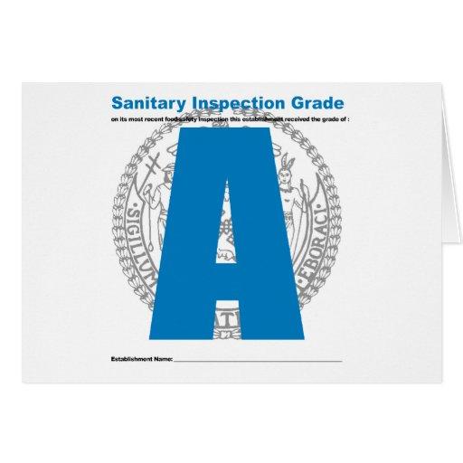 Sanitary Inspection Grade Card