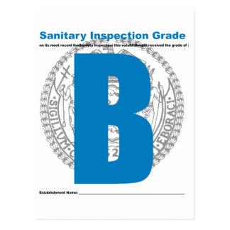 Sanitary Inspection Grade Postcard