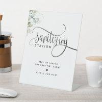 Sanitizing Station Elegant Script Greenery Wedding Pedestal Sign