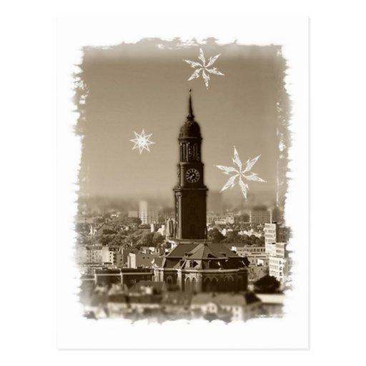 sank michaelis church, Hamburg, Christmas map Postcard