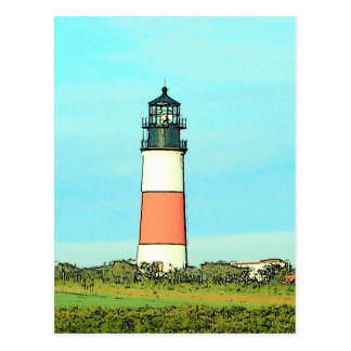 Sankaty Head Lighthouse - VINTAGE LOOK Postcard