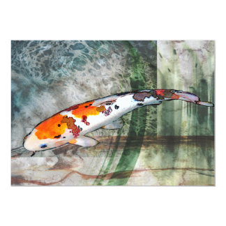 Sanke Koi in Abstract Blue & Green Pond Card
