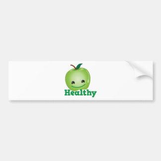 Sano con la manzana verde del kawaii con una cara  pegatina para auto