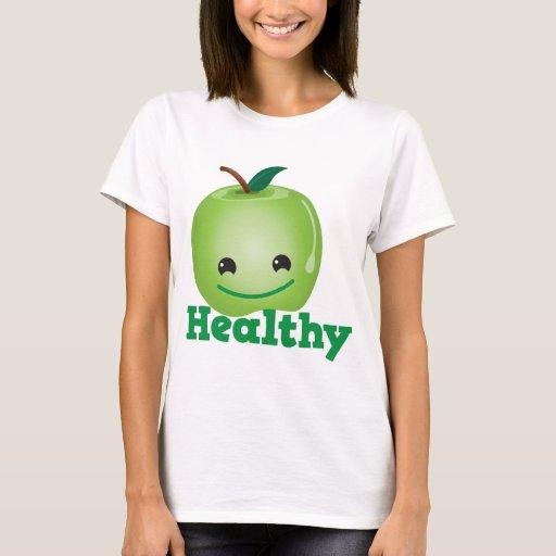 Sano con la manzana verde del kawaii con una cara playera