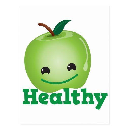 Sano con la manzana verde del kawaii con una cara postales