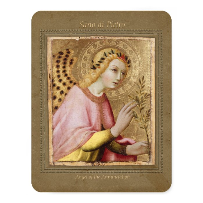 "Sano di Pietro Annunciation angel CC0746 Sienese 4.25"" X 5.5"" Invitation Card"