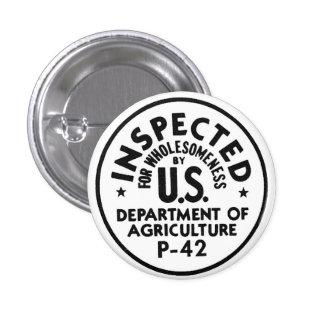 Sano examinado USDA retro del kitsch del vintage Pin Redondo De 1 Pulgada