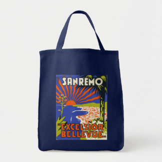 sanremo hotel label grocery tote bag