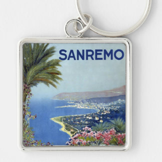 Sanremo Italy Vintage Silver-Colored Square Keychain