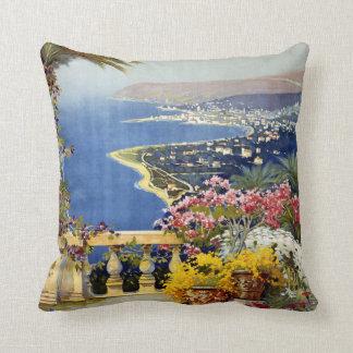 Sanremo Italy vintage travel throw pillow