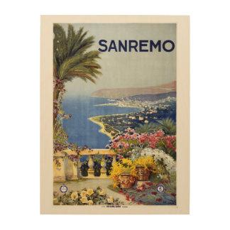 Sanremo Italy vintage travel wood canvas