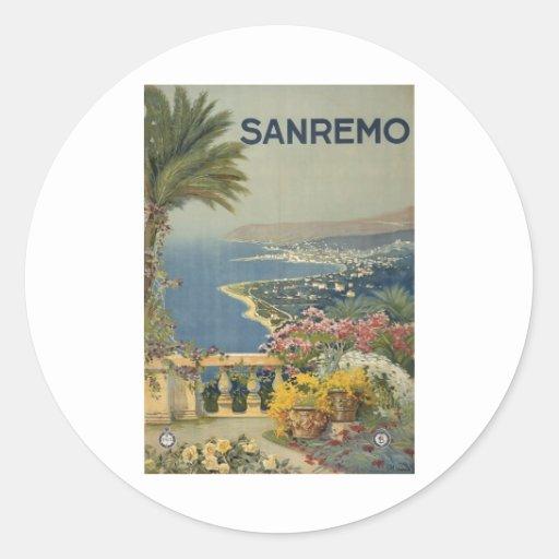 Sanremo poster 1920 classic round sticker