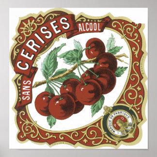 Sans Cerises Alcool Vintage Label Poster
