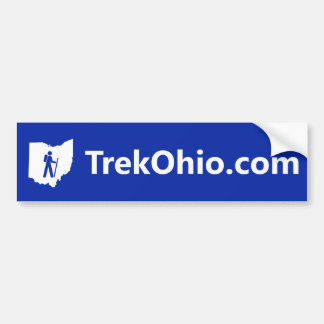 Sans-serif font, blue background bumper sticker