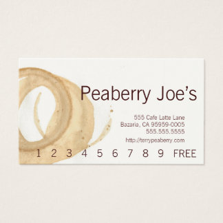 Sans Serif Text Coffee Cup Stain Punchcard Business Card