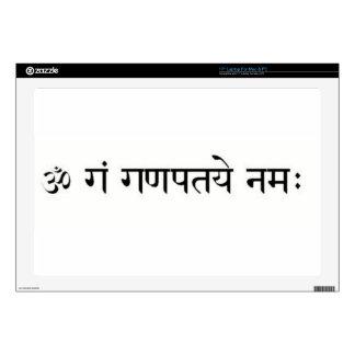 """sanskrit mantra: Lord Ganesha: Success Decals For 17"""" Laptops"""