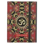 Sanskrit Om Gold + Red Baroque Custom Name iPad Air Cases