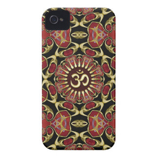Sanskrit Om Gold + Red Baroque iPhone 4 Case